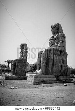Colossi Of Memnon, Theban Necropolis, Across The River Nile From The Modern City Of Luxor, Egypt
