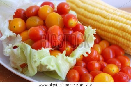 Tomatoes, Lettuce And Corn