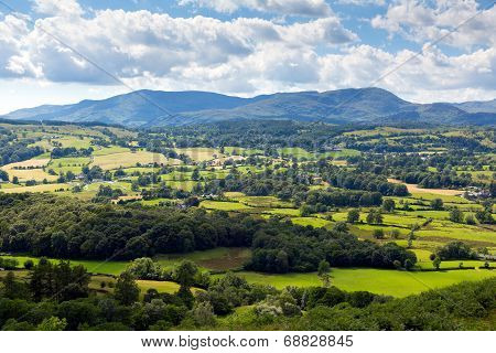 Lake District countryside view near Hawkshead England uk on a beautiful summer day