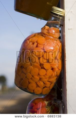 Pickled carrots at a roadside stand in Baja California poster