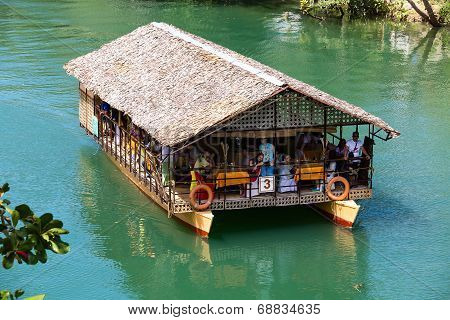 Exotic Cruise Boat With Tourists On A Jungle River. Island Bohol, Philippine.