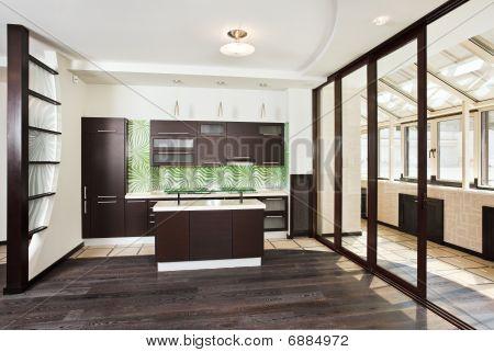 Modern Kitchen Interior With Balcony