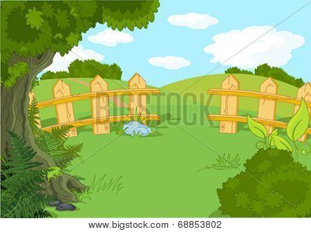 Illustration of rural idyllic landscape