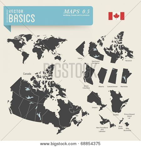 vector basics: Worldmap and detailed map of Canada and its provinces