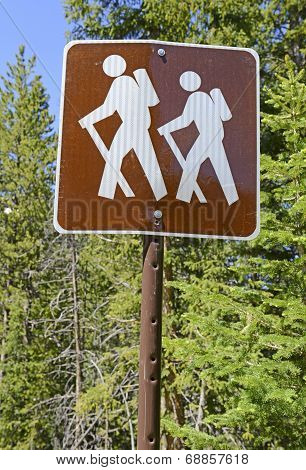 Hiker - backpacker Crossing sign in the outdoors poster