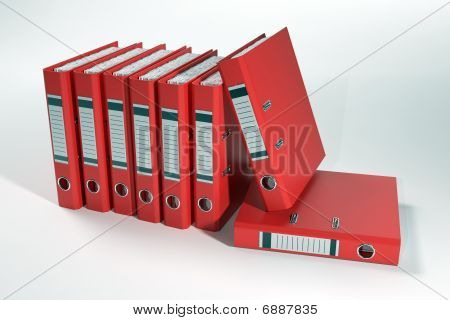 Group Of Ring Binders Isolated Including Clipping Path