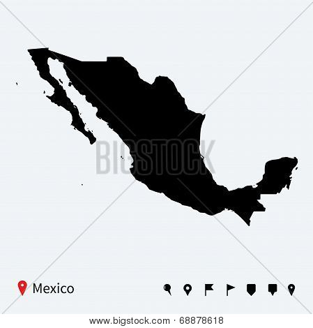 High detailed vector map of Mexico with navigation pins.