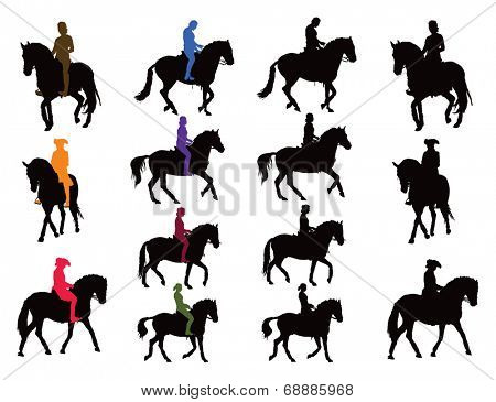 Horse rider vector silhouettes set. Rider in color, horse black. Another collection are riders plus horse as united object in black.