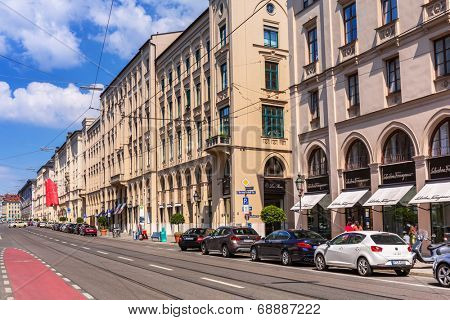 MUNICH, GERMANY - 19 JUNE 2014: Streets of Munich, Germany. Munich is the capital and largest city of the German state of Bavaria on the north of the Bavarian Alps.
