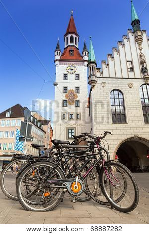 MUNICH, GERMANY - 19 JUNE 2014: Bikes at the old town hall in Munich, Germany. The Old Town Hall bounds the central square Marienplatz on its east side, was constructed in 1392/1394.