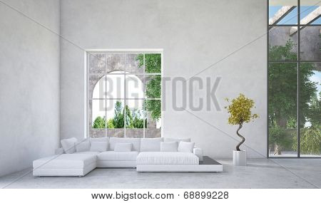 Luxury condominium living room interior with an upholstered white suite in front of a large arched window overlooking a arden or greenery and mottled grey decor