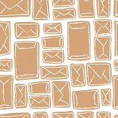 Vector seamless pattern - many craft envelopes poster
