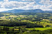 Lake District countryside view Hawkshead England uk on a beautiful summer day near this popular tourist village known for William Wordsworth and Beatrix Potter poster