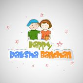 Cute little sister and brother hugging to each other on occasion of Raksha Bandhan celebrations.  poster
