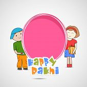 Cute little sister and brother holding a pink banner with colorful text on grey background for the occasion of Raksha Bandhan celebrations.  poster
