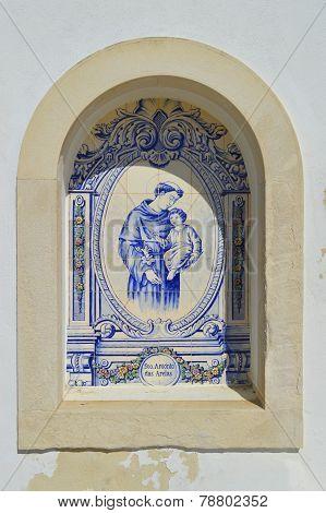 Tiles with the inscription of Sto. Antonio das Areias in Armacao De Pera, Portugal