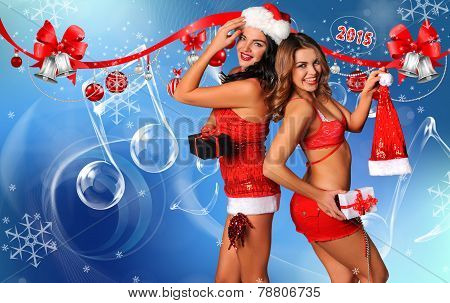 Sexy Santa's Helpers Holiday postcard