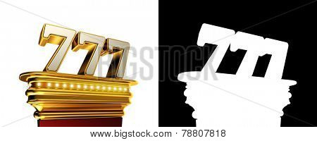 Number 777 on a golden platform with brilliant lights over white background with alpha map