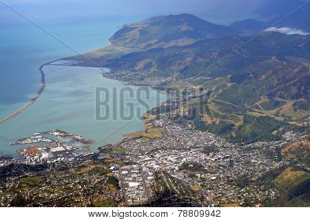 Aerial View Of Nelson City & Port, New Zealand.