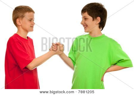 Greeting Of Two Boys