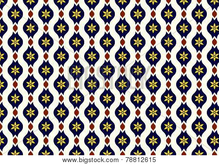 Dark Blue Retro Flower And Leaves And Lobe Pattern On Pastel Background