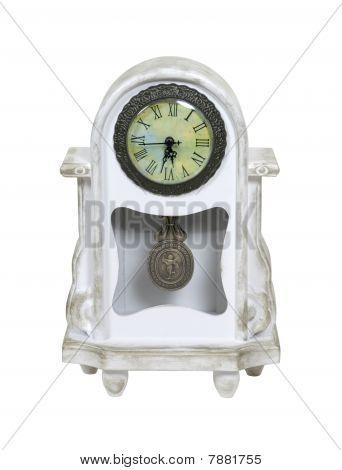 Mantel Whitewashed Clock