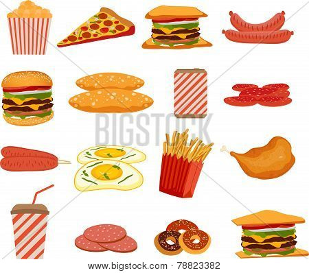 Fast food, objects set