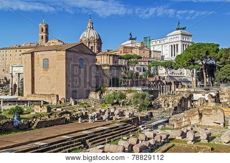 The Roman Forum is a rectangular forum (plaza) surrounded by the ruins of several important ancient government buildings at the center of the city of Rome. Curia and Santi Luca e Martina church poster