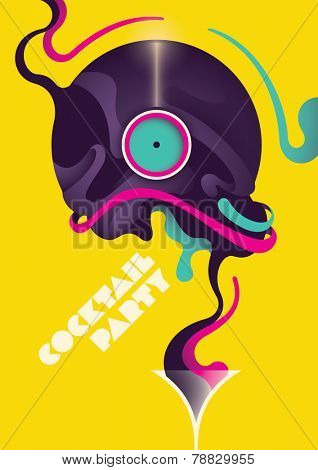 Cocktail party poster design. Vector illustration.