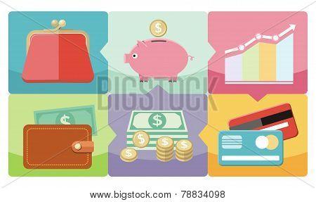Dollar, purse, coin box pig icons