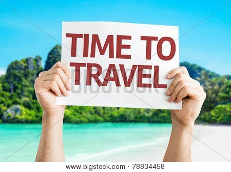 Time to Travel card with a beach on background