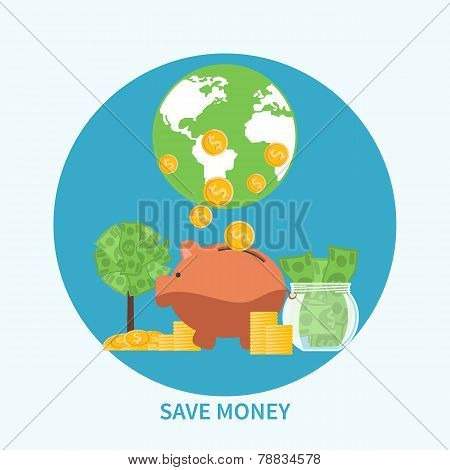 Piggy bank and coin, saving money concept