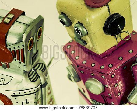 two robot toys talk