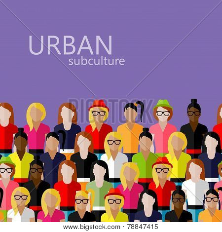 vector flat  illustration of female community with a large group of girls and women. urban subcultur