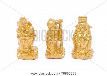 Fu Lu Shou, Chinese Lucky God Graven Image Isolated On White.