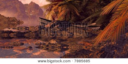 Weathered Rowboat On A Tropical Island
