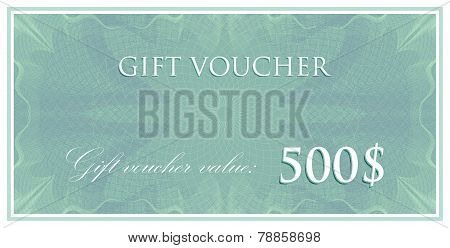 vector template design of gift voucher or certificate with guilloche pattern, watermarks. also can b