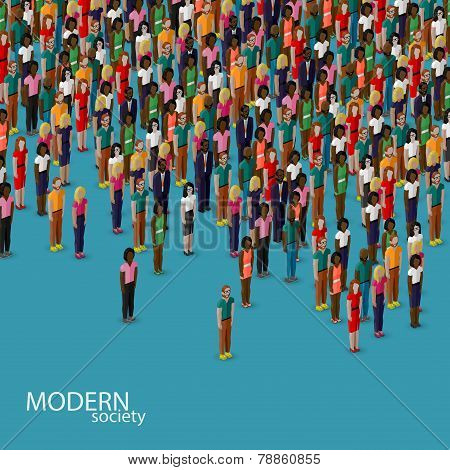 vector 3d isometric illustration of society members with a crowd of men and women. population. urban