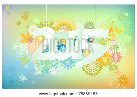 Card 2015 With Flowers