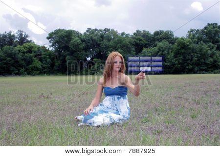 Beautiful Redhead in an Open Field (4)
