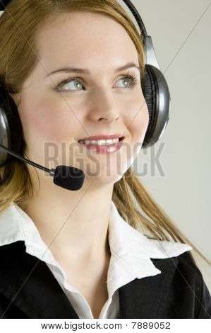 portrait of young woman's operator on white background