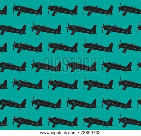 Retro Planes Pattern. Eps10 Vector Image 0092
