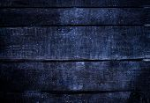 Old dark blue grunge wood background with knots and scratches. Rustic weathered Wooden plank texture of bark natural background square format poster