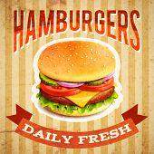Fast food restaurant poster with beaf meat hamburger emblem vector illustration poster