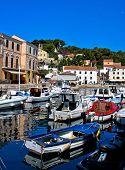 Adriatic town of Veli Losinj harbor Croatia poster