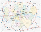 Greater London Road And Administrative Map, eps 10 poster