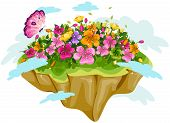 A Floating Floral Garden with Clipping Path poster