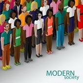 vector 3d isometric  illustration of society members with a large group of men and women. population. modern society concept poster