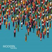 vector 3d isometric illustration of society members with a crowd of men and women. population. urban lifestyle concept poster