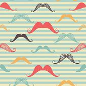 Mustache Seamless Pattern In Vintage Style. Pattern Or Texture With Curly Retro Gentleman Mustaches
